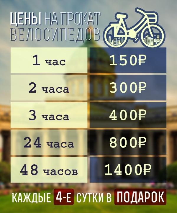 Цены на прокат велосипедов в Питере
